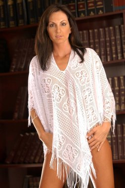 White frilly sheer fabric clings onto large breasted model - nipples almost showing thru -  legal law book library background copy space - clear clean tight skin tones - big tits - bare legs no panties - long brunette hair