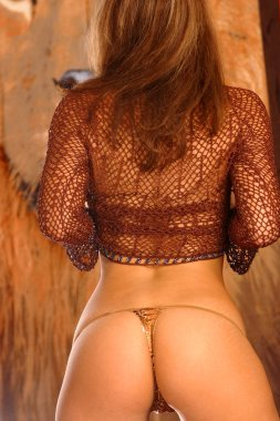 Sexy brunette tone butt cheeks backside rear end behind view of curved buttocks bottom