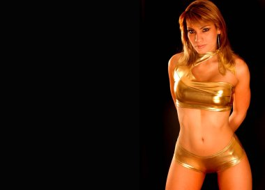 Black background for desktop wallpaper stunning gold golden boy short shorts disco bikini clad fashion model with tight tummy sultry woman in glamour pose American dream team winner contestant calendar girl babe firm tone clear skin on adorable lady