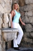 Beautiful blonde poses white on vaction