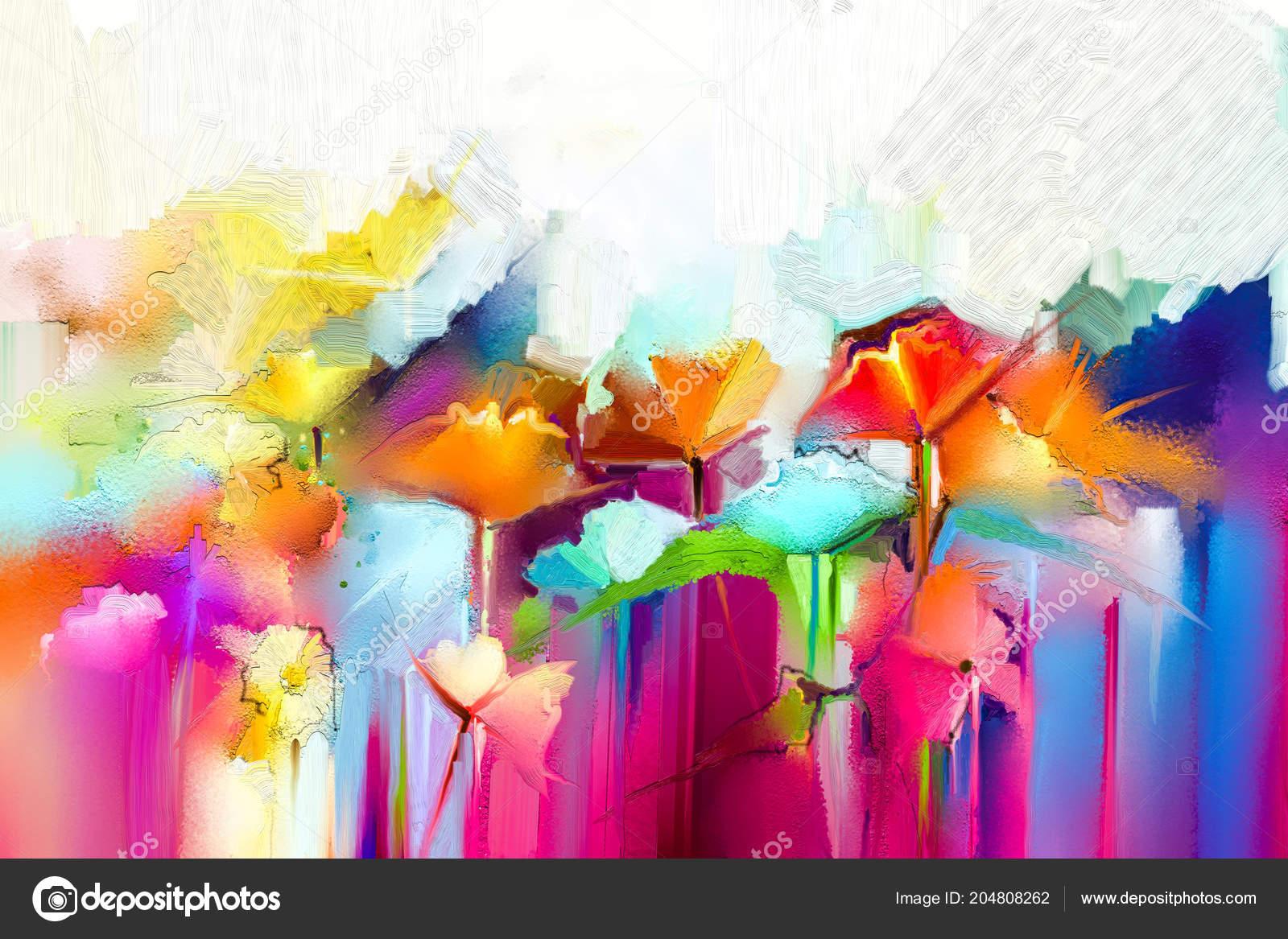 Zeer Abstract Kleurrijk Schilderij Doek Semi Abstracte Afbeelding Van @WY77