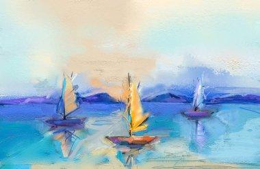 """Картина, постер, плакат, фотообои """"цветная живопись маслом на холсте. импрессионистский образ мыса на фоне солнечного света. современное искусство живописи маслом с лодкой, парус в море. абстрактное современное искусство для фона стиль"""", артикул 204806718"""