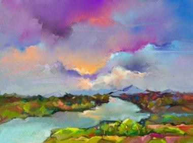 """Картина, постер, плакат, фотообои """"абстрактный пейзаж живописи маслом. цветное синее фиолетовое небо. живопись маслом на холсте. полуабстрактное дерево, поле, река, луг. аннотация landscape nature, contemporary art for background """", артикул 204807626"""