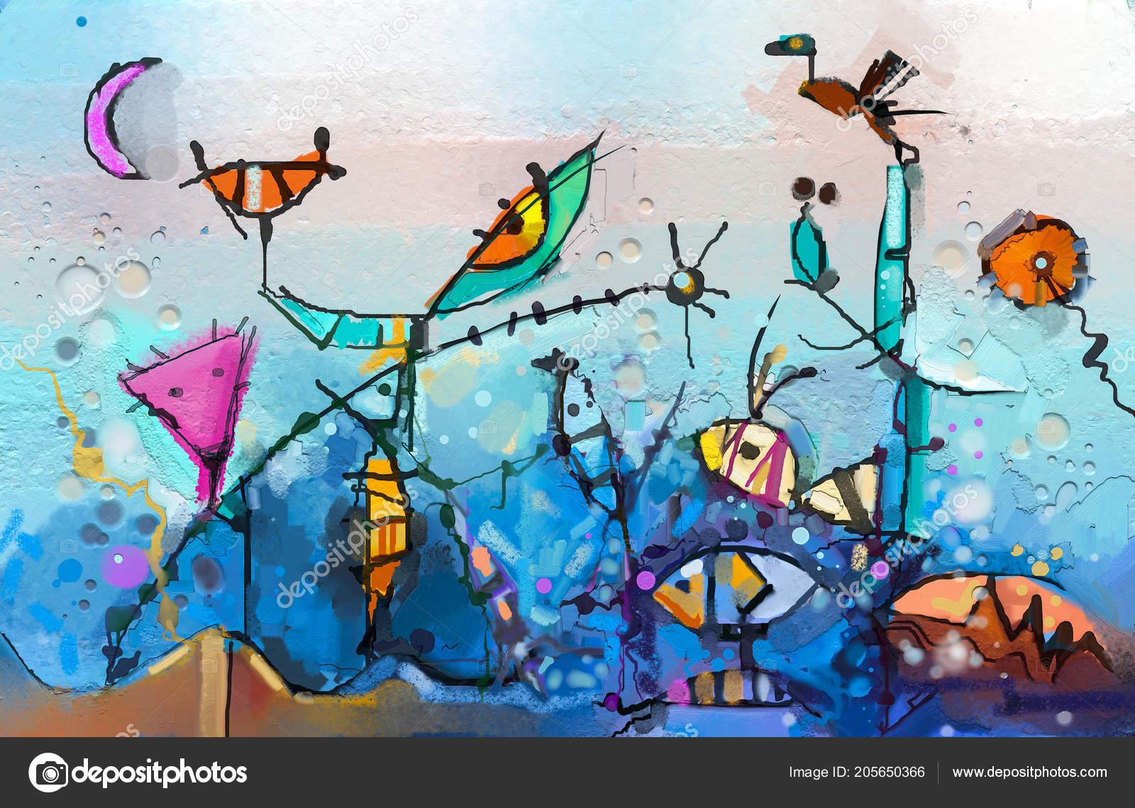 Peinture Huile Abstraite Fantaisie Colorée Semi Résumé Enfant Arbre