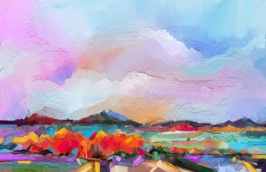 """Картина, постер, плакат, фотообои """"абстрактный пейзаж живописи маслом. цветное синее фиолетовое небо. живопись маслом на холсте. полуабстрактное дерево, поле, река, луг. аннотация landscape nature, contemporary art for background """", артикул 205653734"""