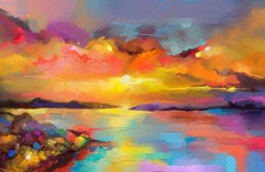 """Картина, постер, плакат, фотообои """"цветная живопись маслом на холсте. импрессионистский образ мыса на фоне солнечного света. современное искусство живописи заката над морем и пляжем. абстрактное современное искусство пейзаж цветы все зимний москва"""", артикул 205653960"""