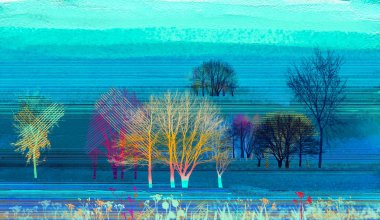 """Картина, постер, плакат, фотообои """"абстрактная красочная живопись маслом на холсте. полуабстрактное изображение фона пейзажной живописи. современное искусство живописи маслом с зеленым, красным и синим. абстрактное современное искусство для фона картина морской"""", артикул 207316976"""