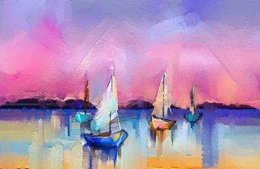 """Картина, постер, плакат, фотообои """"цветная живопись маслом на холсте. импрессионистский образ мыса на фоне солнечного света. современное искусство живописи маслом с лодкой, парус в море. абстрактное современное искусство для фона картина пейзаж все"""", артикул 207318192"""
