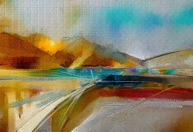 """Картина, постер, плакат, фотообои """"абстрактное красочное масло, акриловый мазок кистью на холсте текстуры. полуабстрактное изображение фона пейзажной живописи. современная живопись стен маслом. мбаппе работает на заднем плане """", артикул 241089092"""