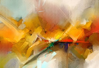 """Картина, постер, плакат, фотообои """"абстрактная красочная живопись маслом на холсте. ручной штрих кистью, фон живописи маслом. современное искусство живописи маслом желтого, красного цвета. абстрактное современное искусство для фона """", артикул 246049850"""