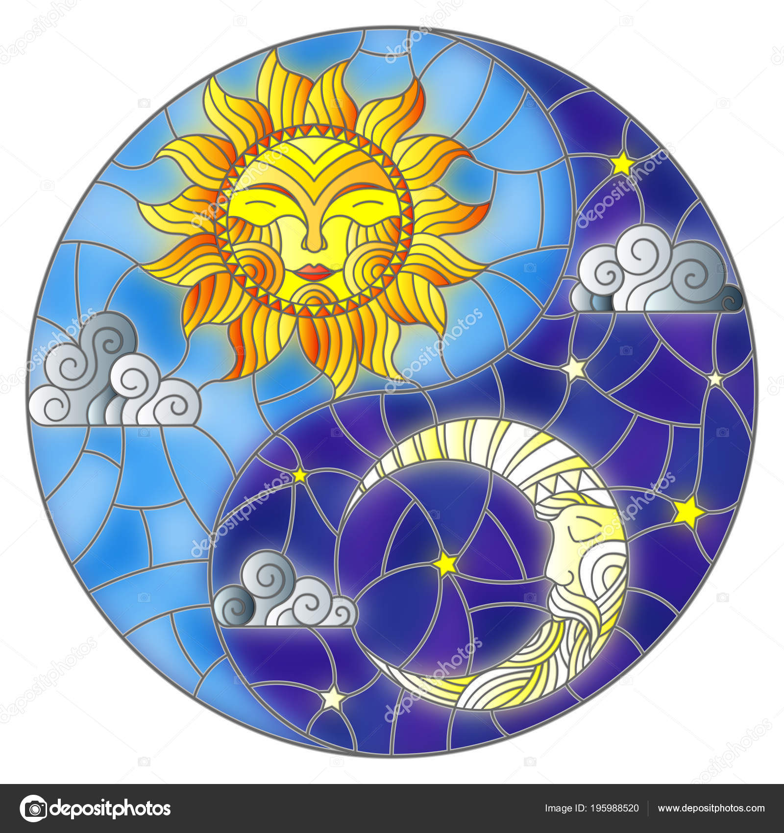 Illustration Sun Moon Sky Background Form Yin Yang Sign Circular