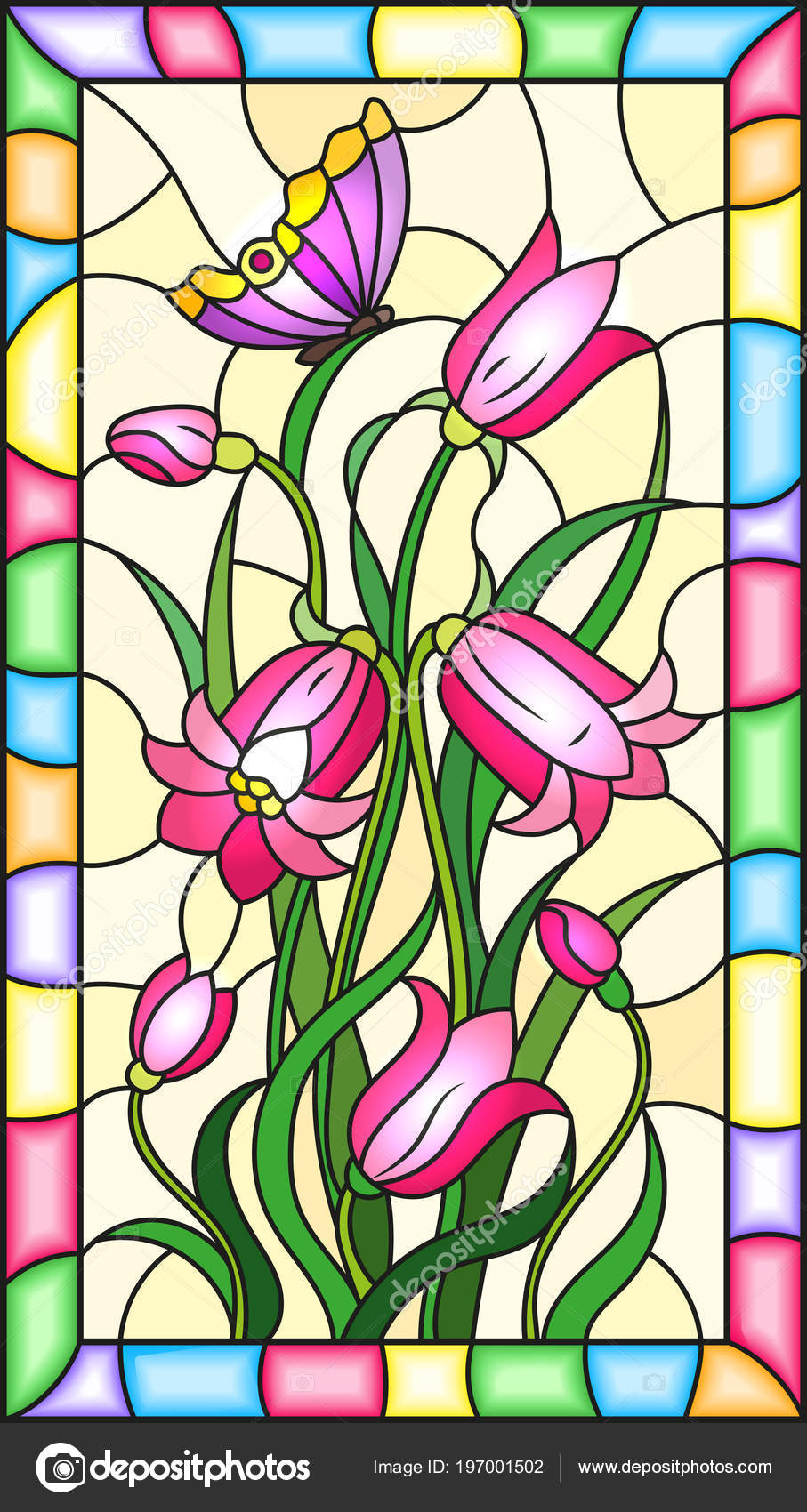 Ilustración Estilo Vidrieras Con Hojas Flores Campanas Flores Color ...