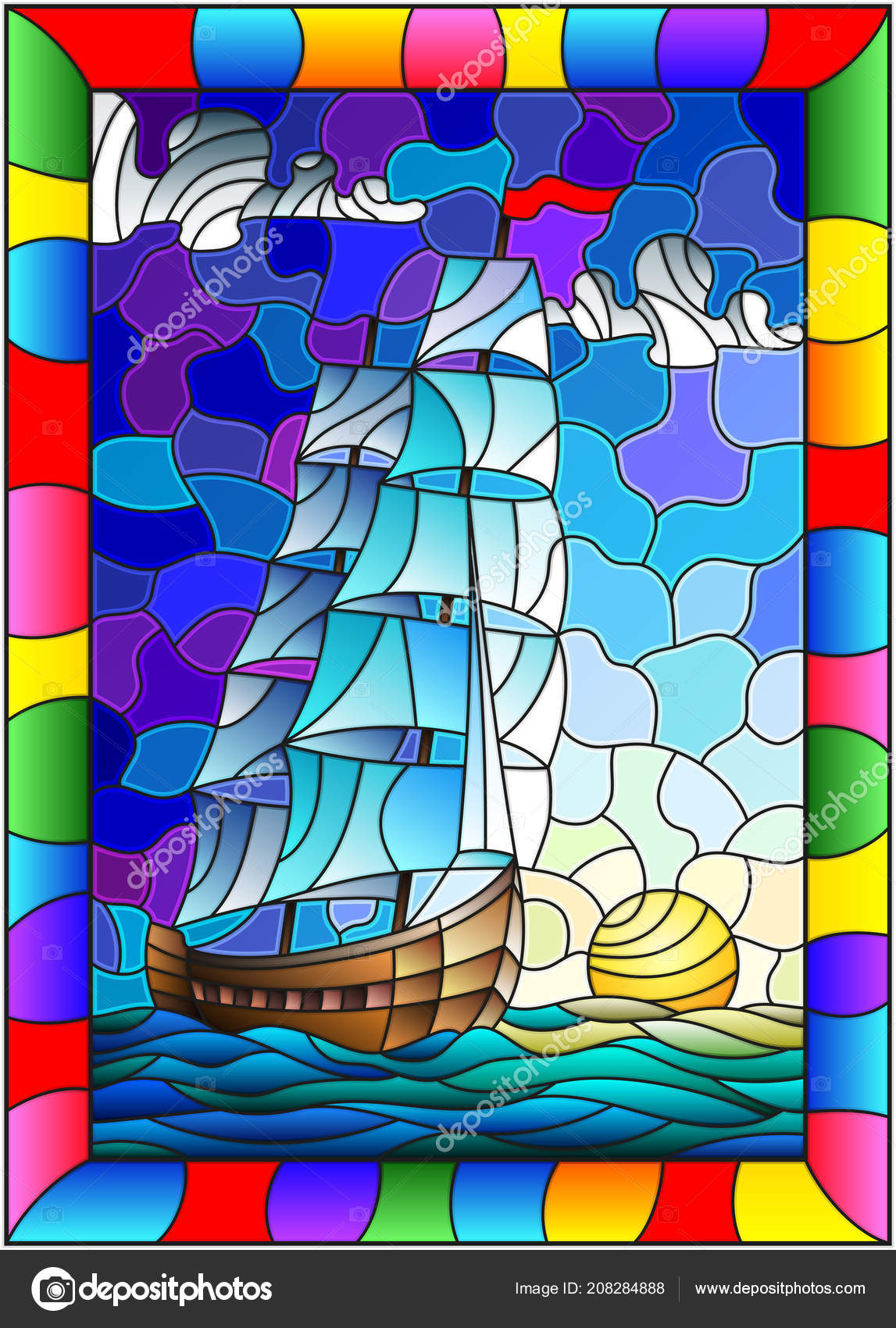 Illustration Stained Glass Style Old Ship Sailing White Sails Sea ...