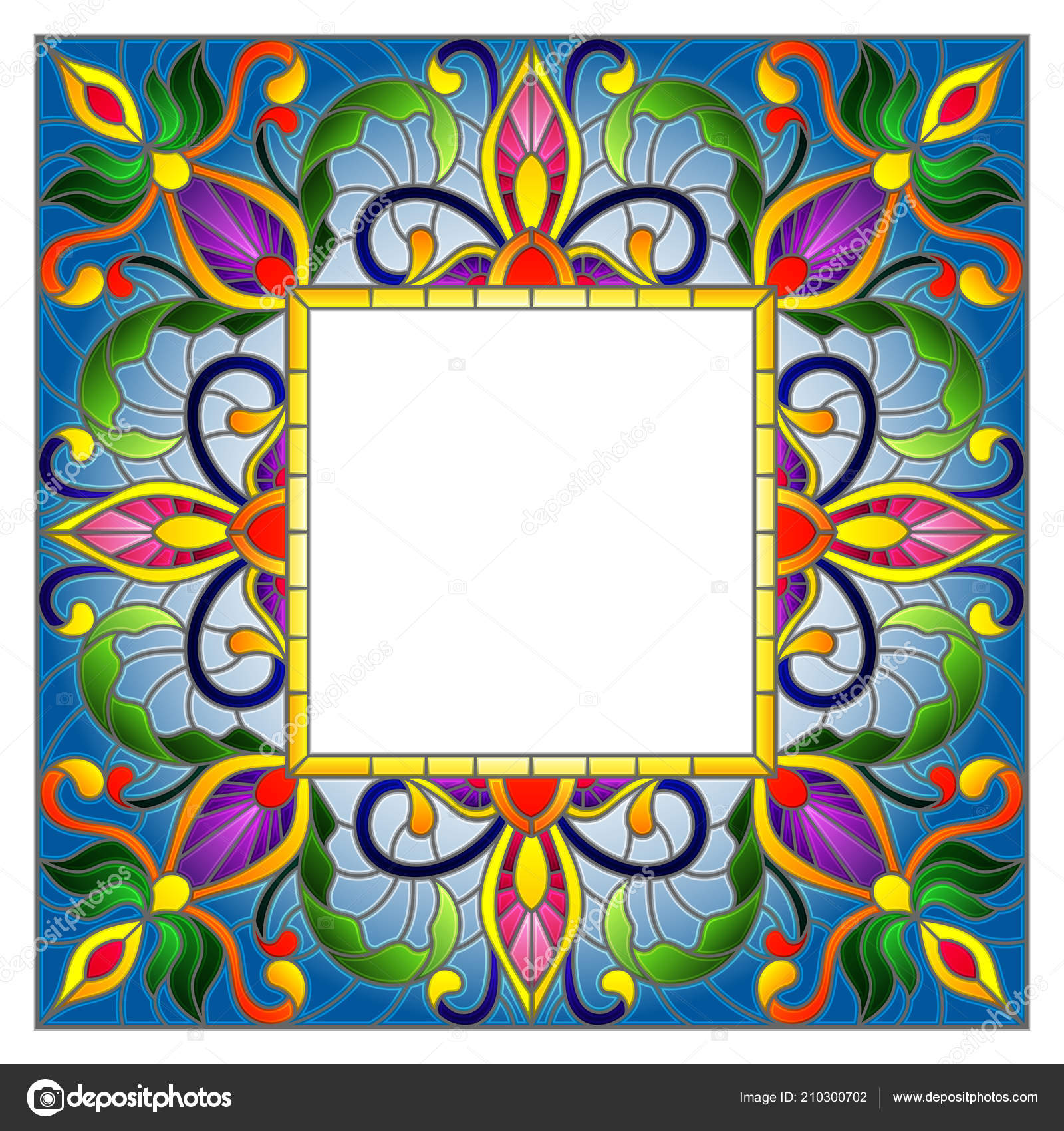 Illustration Stained Glass Style Flower Frame Bright Flowers Leaves ...