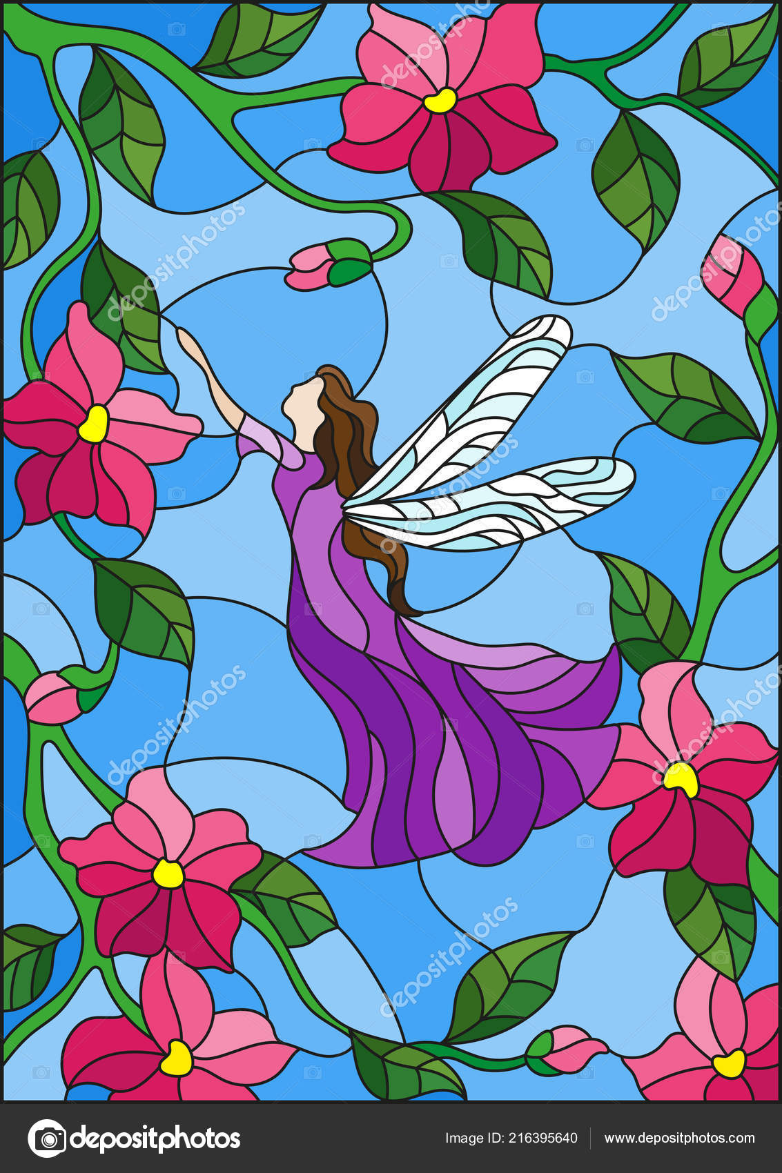 Illustration Stained Glass Style Winged Fairy Sky Pink Flowers