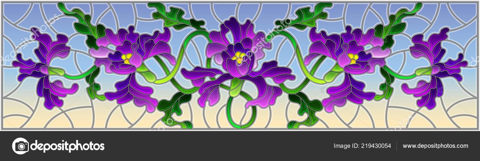 Ilustracion Estilo Vidrieras Con Flores Hojas Flor Iris Morado Sobre