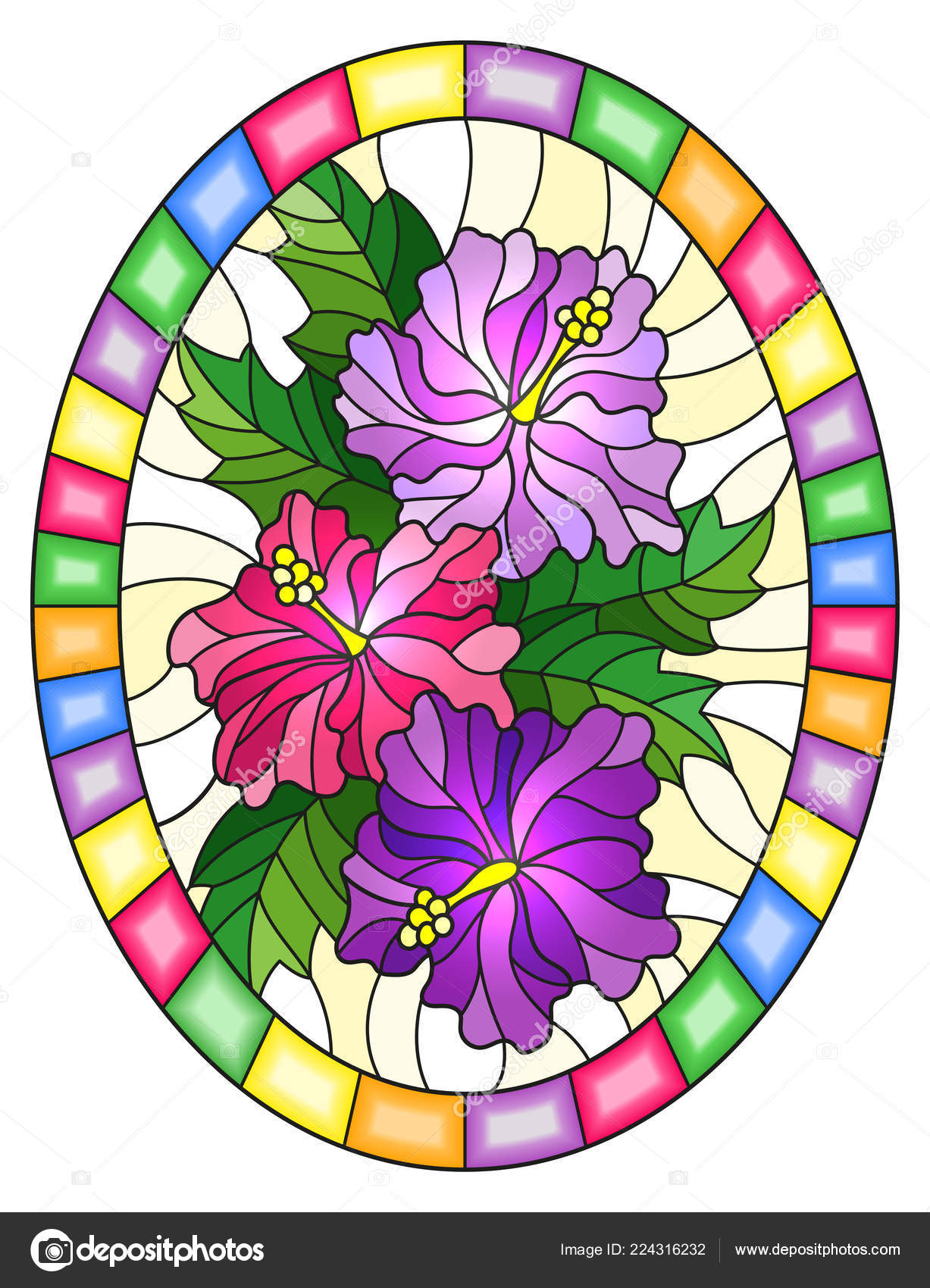 Illustration Stained Glass Style Flower Hibiscus Yellow Background