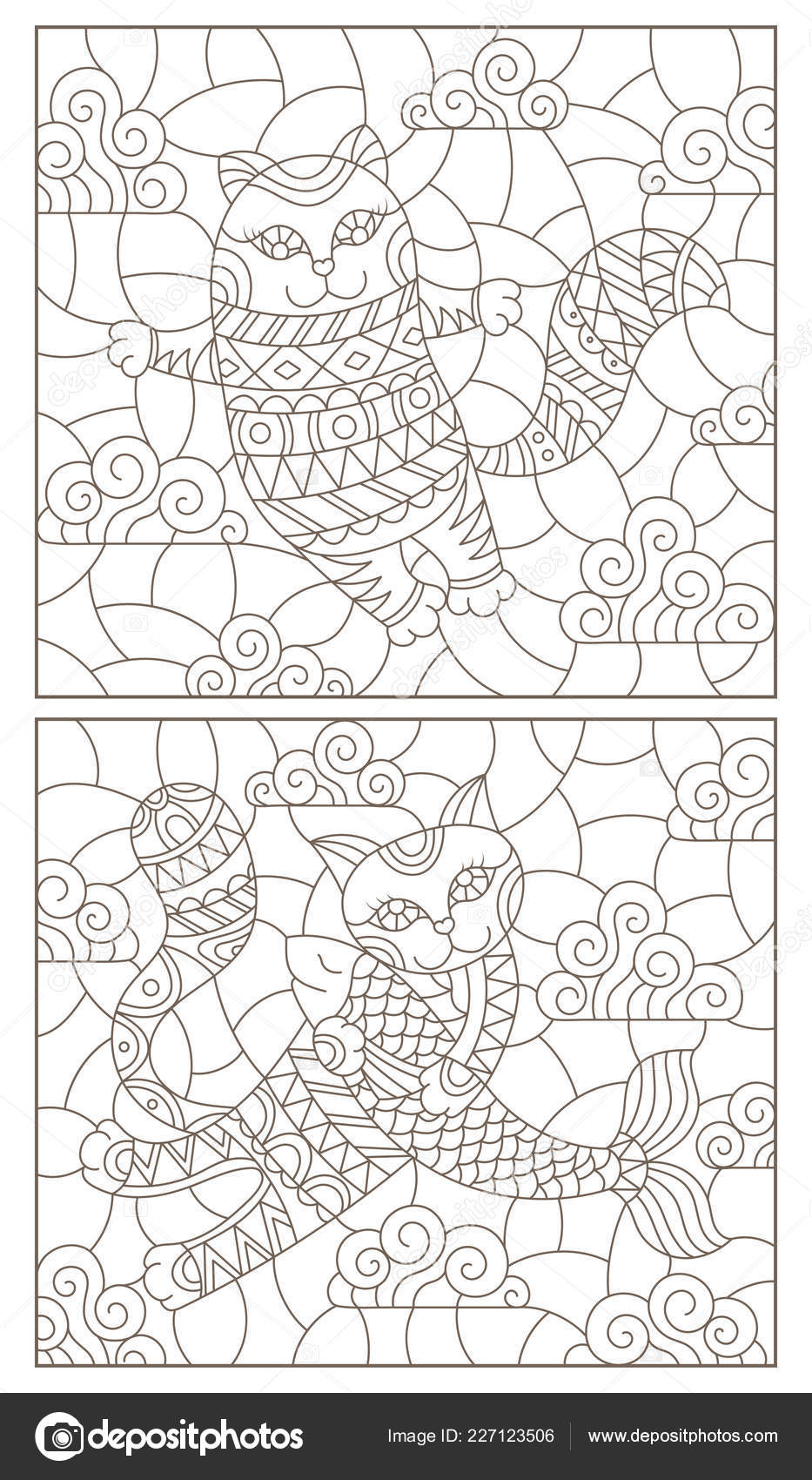 Set Contour Illustrations Stained Glass Windows Cute Cartoon