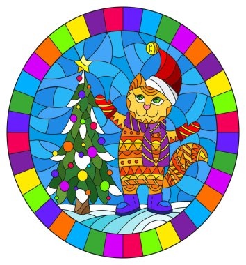 Illustration in stained glass style with funny cat in Santa hat and Christmas tree on a background of snow and sky, oval image in bright frame