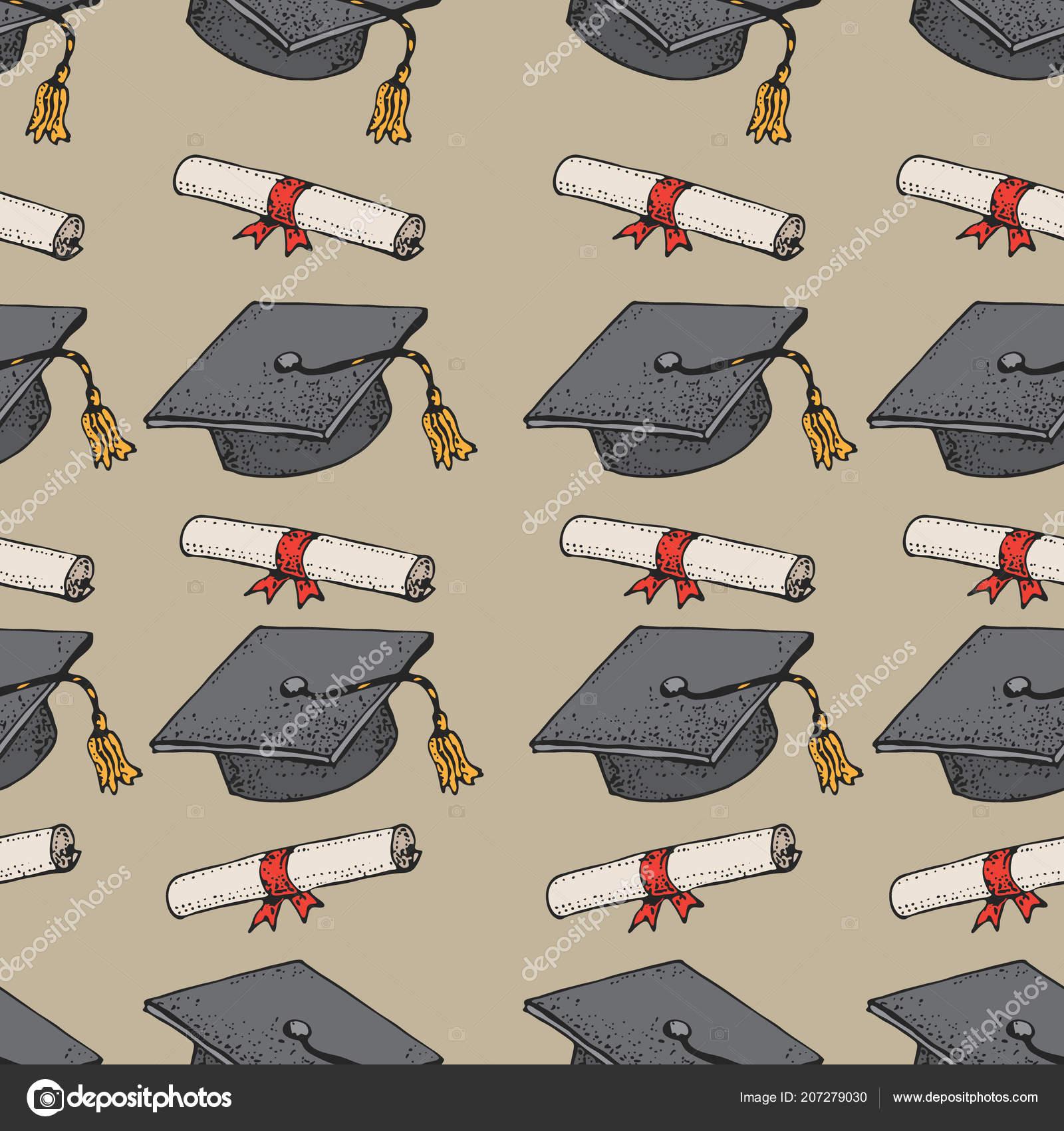 Doodle Patrones Sin Fisuras Sombrero Negro Con Diploma Casquillos ...