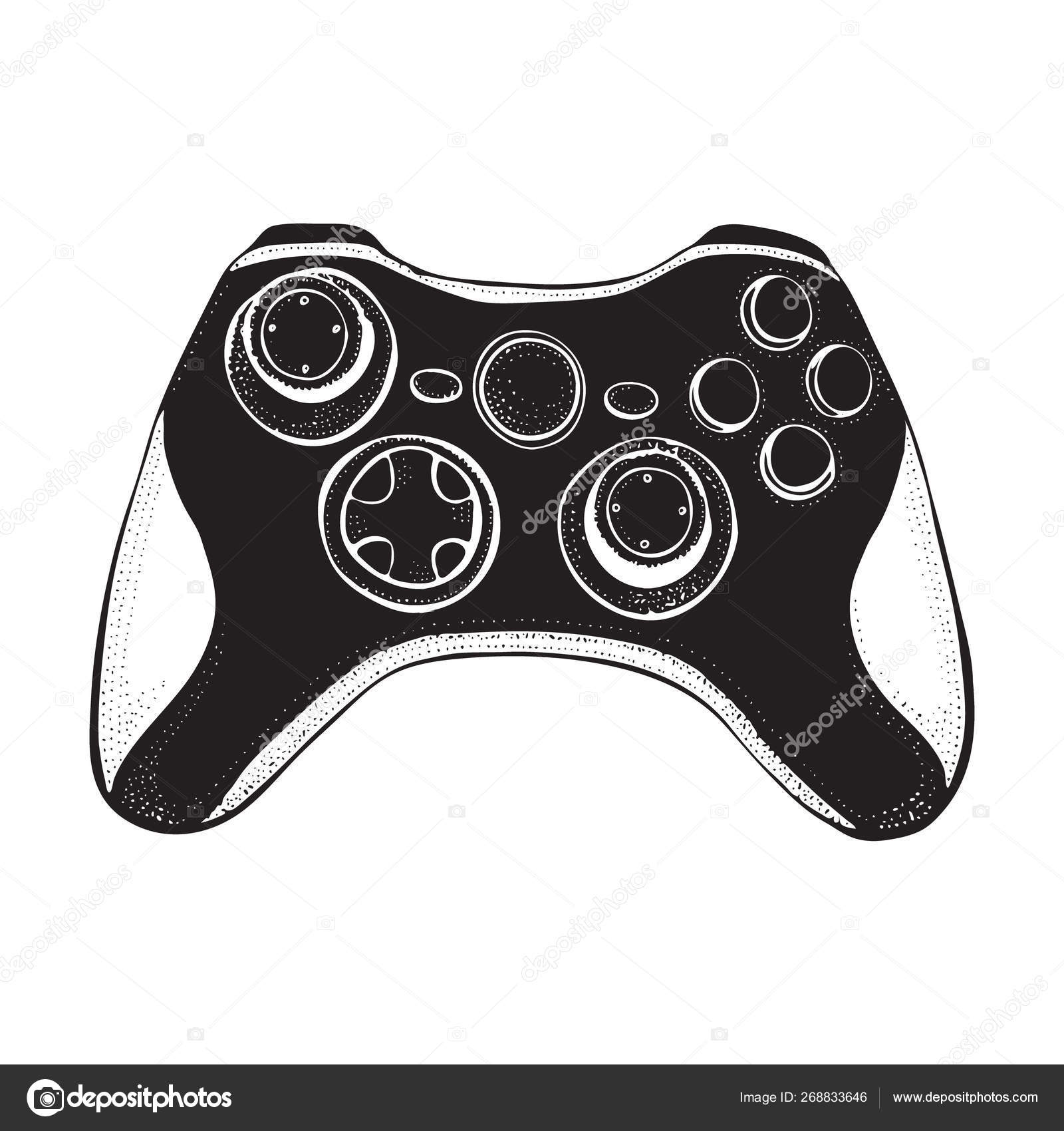 Gamepad joystick game controller isolated on white  Doodle