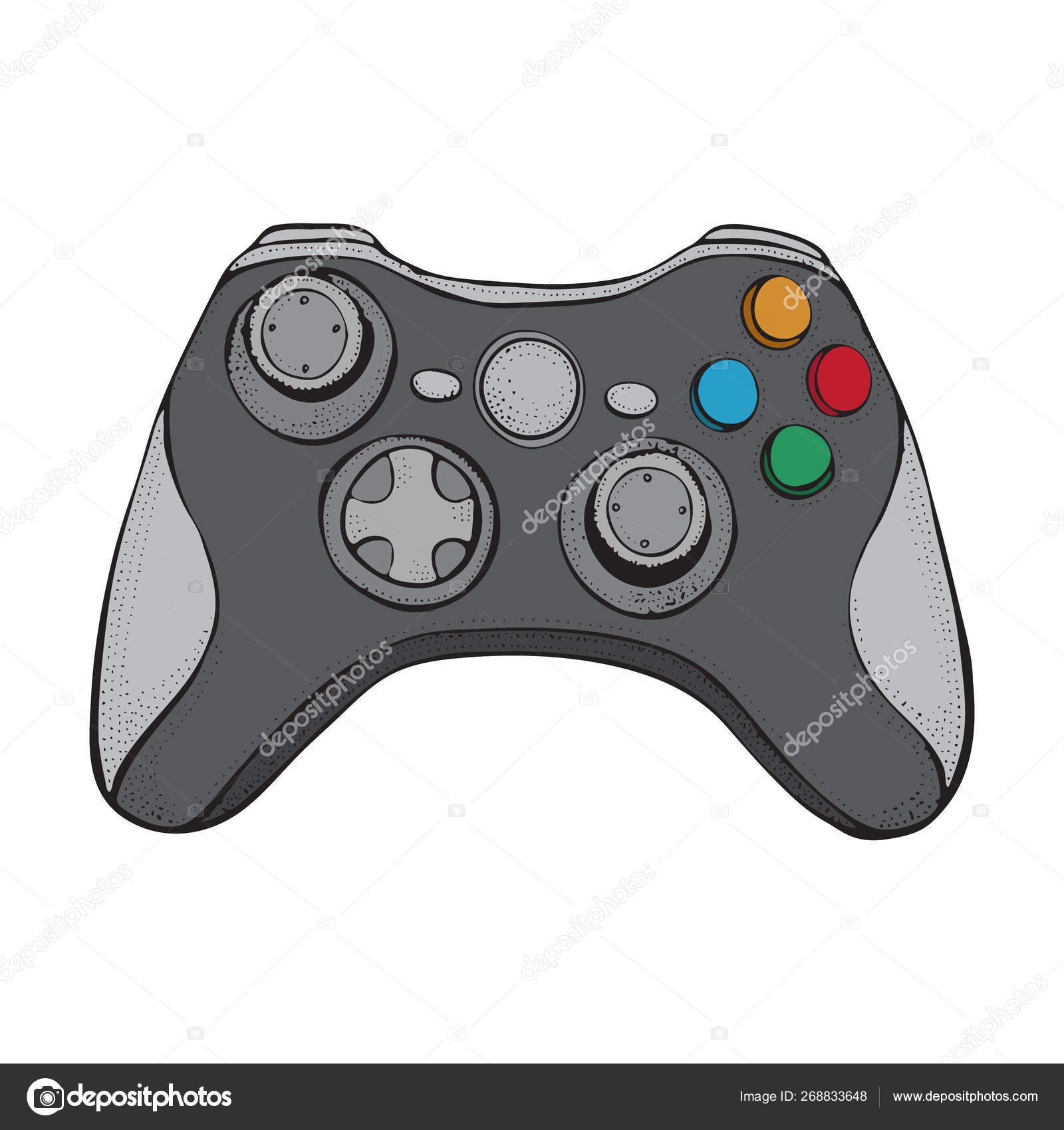 Gamepad joystick game controller isolated on white  Cartoon