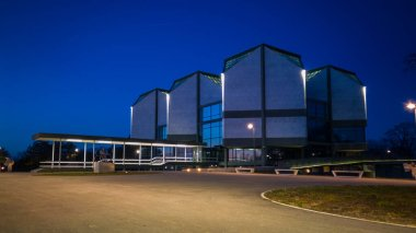 Museum of Contemporary Art in Belgrade, Serbia. Modern architecture at night.
