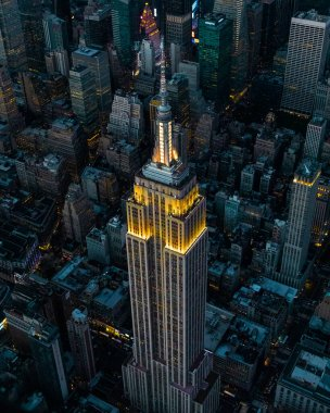 Aerial view of The Empire State Building shot from a helicopter.