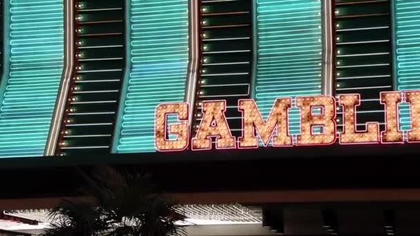 Iluminated neon Gambling sign in Fremont Street Las Vegas