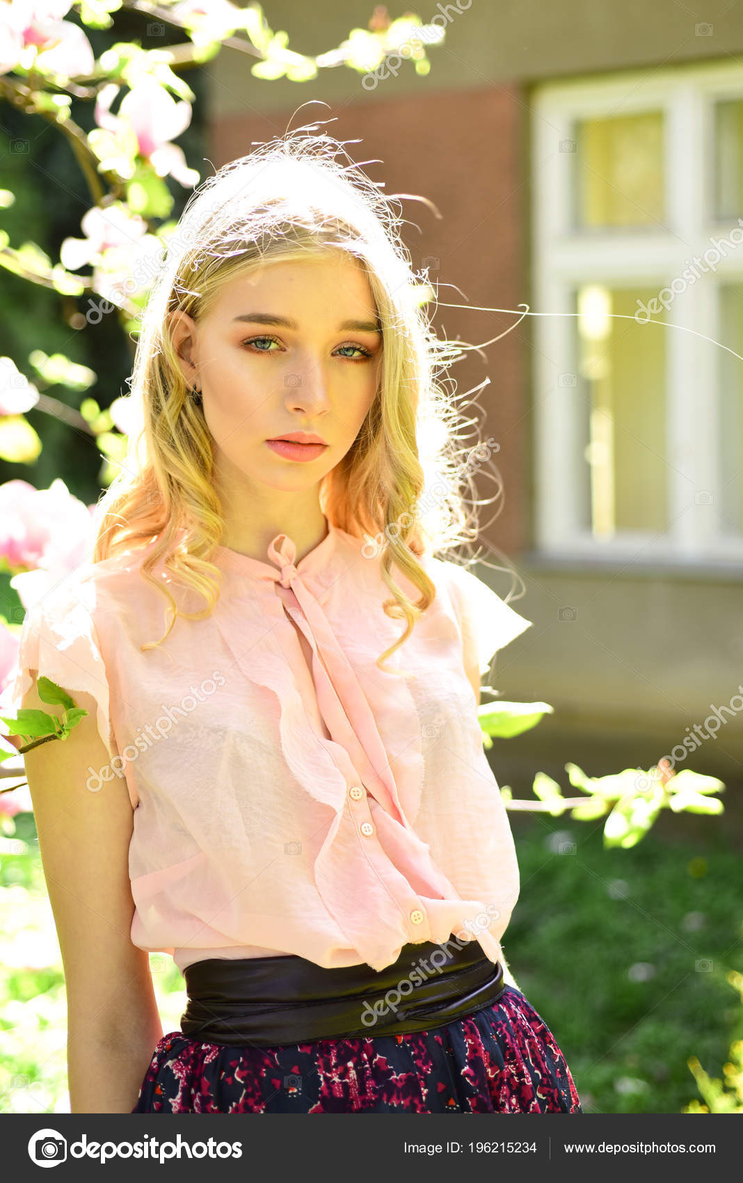 ef4d21a3c1791 Pretty Blond Girl Pink Blouse Relaxing Blooming Garden Sunny Day — Stock  Photo