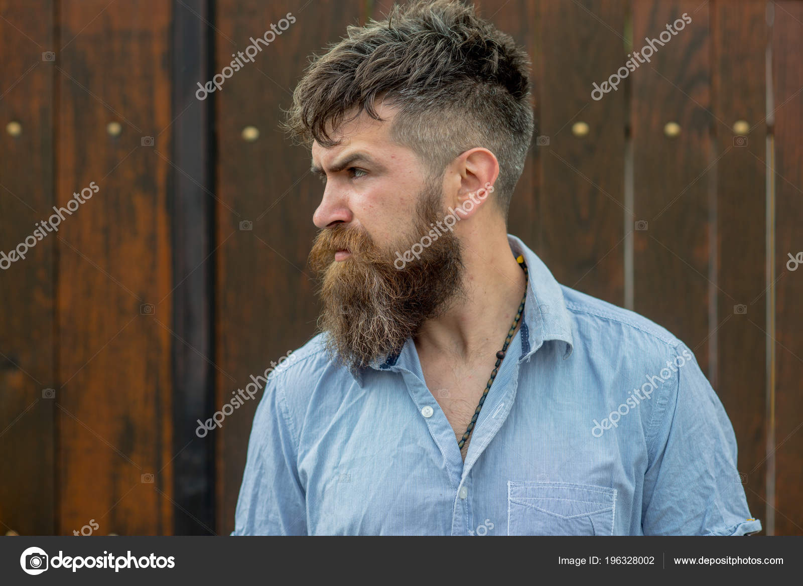 Bearded Man Brutal Face Side View Hipster Trendy Hairstyle Beard