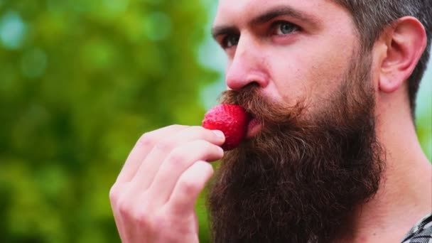 Closeup of a young man eating a strawberry. man eating a strawberry as part of a sexual game. Young man holding a strawberry and smiling.