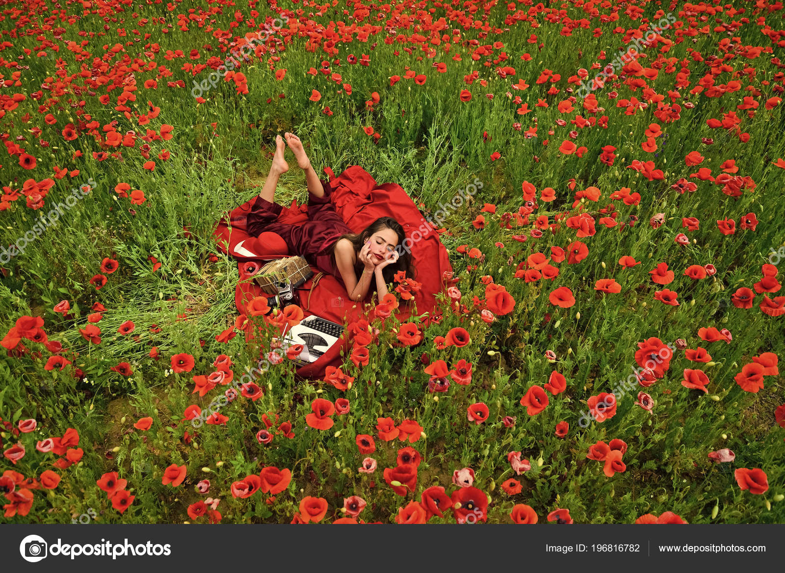Sensual Woman Opium Poppy Agile Business Ecology Stock Photo
