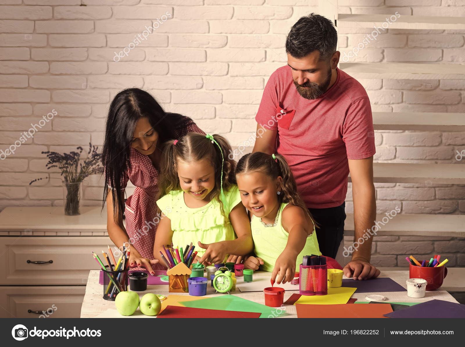 Finger Painting And Arts Girls Drawing With Mother And Father Children Playing And Learning With Parents Happy Childhood And Parenting