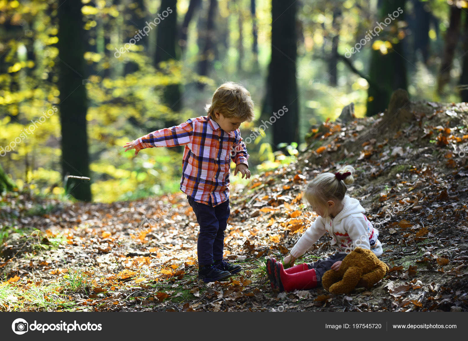 Small Boy Girl Friends Have Fun Woods Kids Harvest Grass Stock