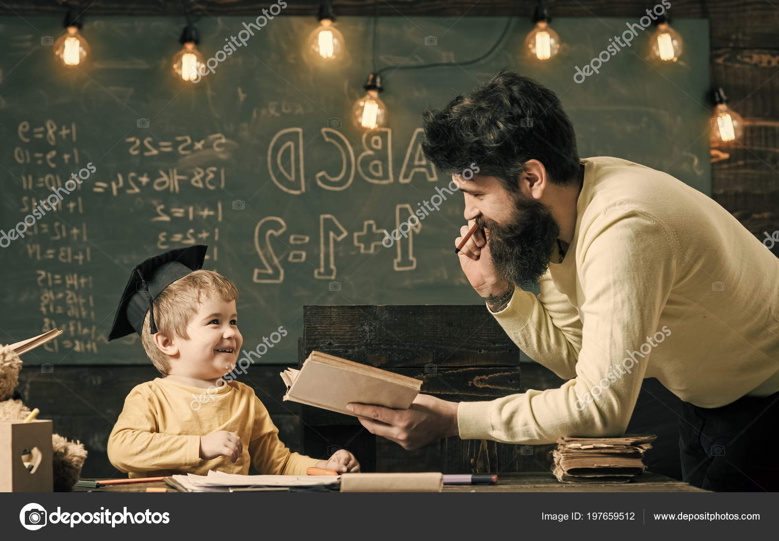 Wunderkind And Genius Concept Father Teacher Reading Book Teaching Kid Son Chalkboard On Background Dad Wants To Grow Up