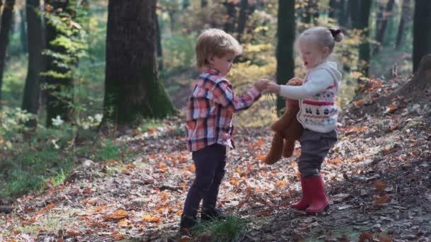 Turistika v lese v letním dni Rozkošná holčička. Šťastné dítě dívka v lese. Malé dítě hraje na podzim na procházce přírodou. Šťastná rodina, procházky se psem v lese