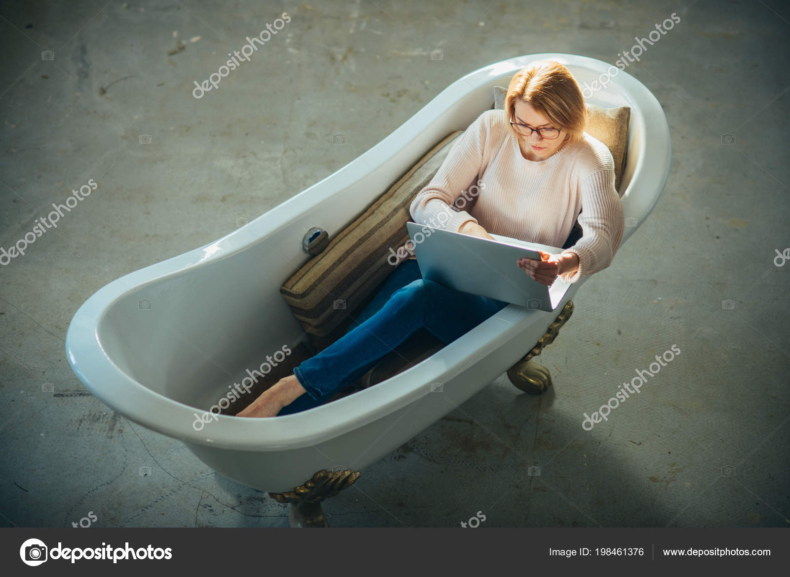 Girl relax in bathtub with laptop keep blog. Agile business and ...