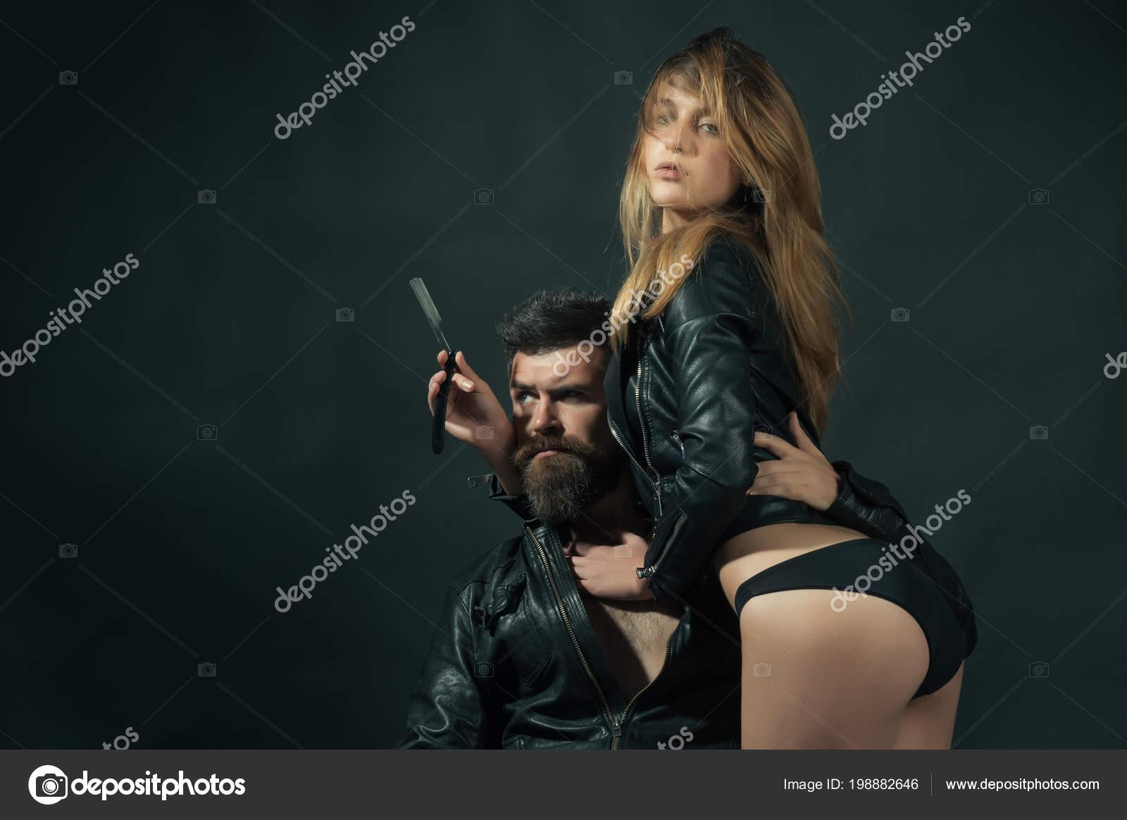 Sexy girl barber