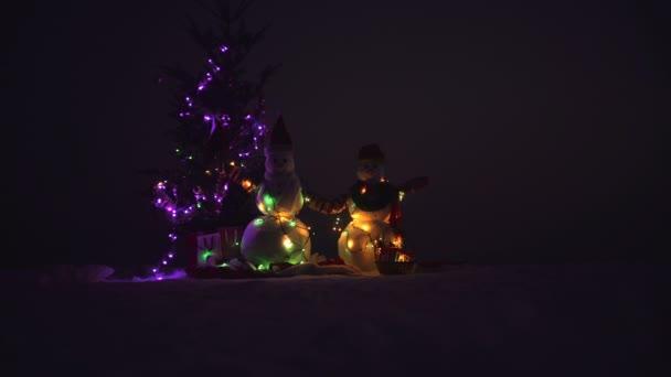 Sněhulák s vánoční dárek na sněhu. Dva muži sníh v zimě vánoční krajina