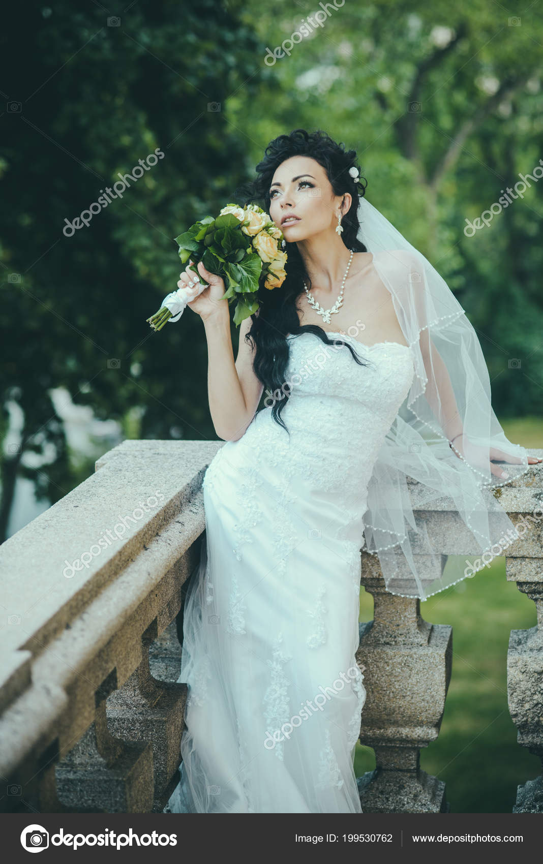 Bride In Fashion White Dress And Veil Sensual Woman With Wedding