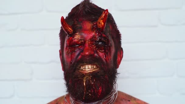 Devil vampire portrait. Halloween red devil monster. Krampus. Christmas devils. Halloween.