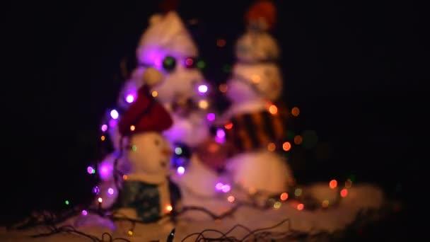 Boldog új évet a hóember. Snowmans boldog pár. Snowmans ünnepe