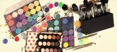 Fotografie tools for makeup. Colorful make-up set