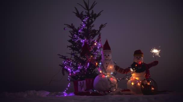 Šťastný nový rok s sněhulák. Snowmans šťastný pár. Snowmans oslava. Veselé Vánoce a šťastný nový rok. Puding v zimě vánoční krajina