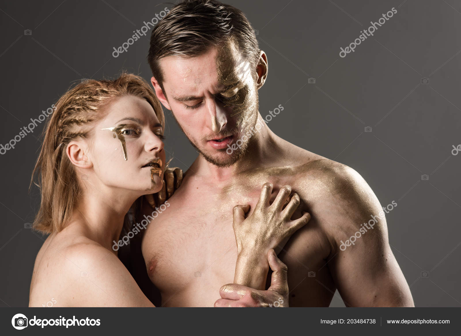 Art Fashion Portrait Of Sexy Couple Art Makeup And Body Paint Of Man And Woman Stock Photo C Tverdohlib Com 203484738