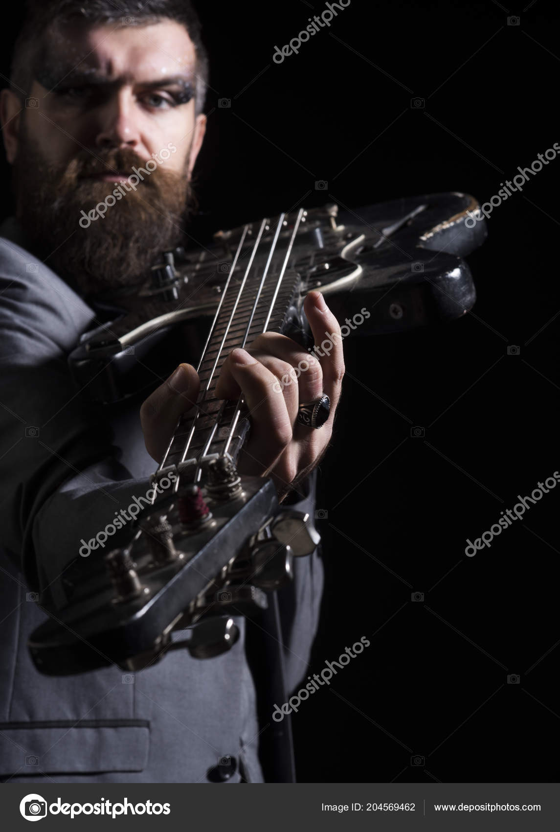 Guitar Player Hold Electric Instrument Bearded Man Play Guitar