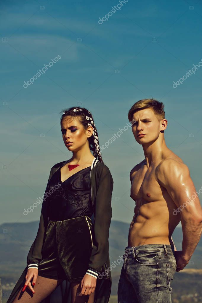 couple of fashion model girl and muscular man
