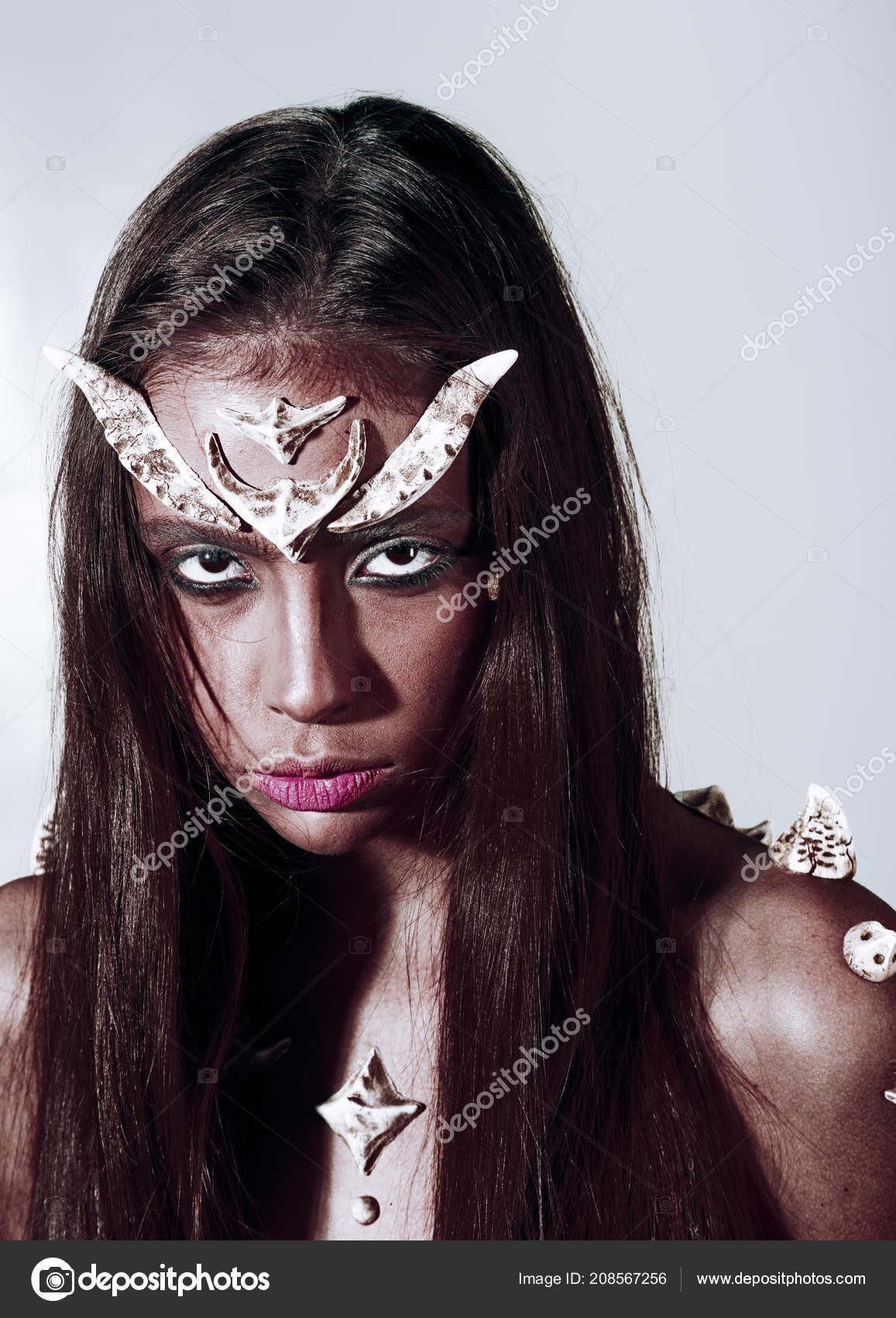Halloween Makeup Devil Girl.Girl Fantasy Style Makeup Halloween Ideas Concept Woman With Horns