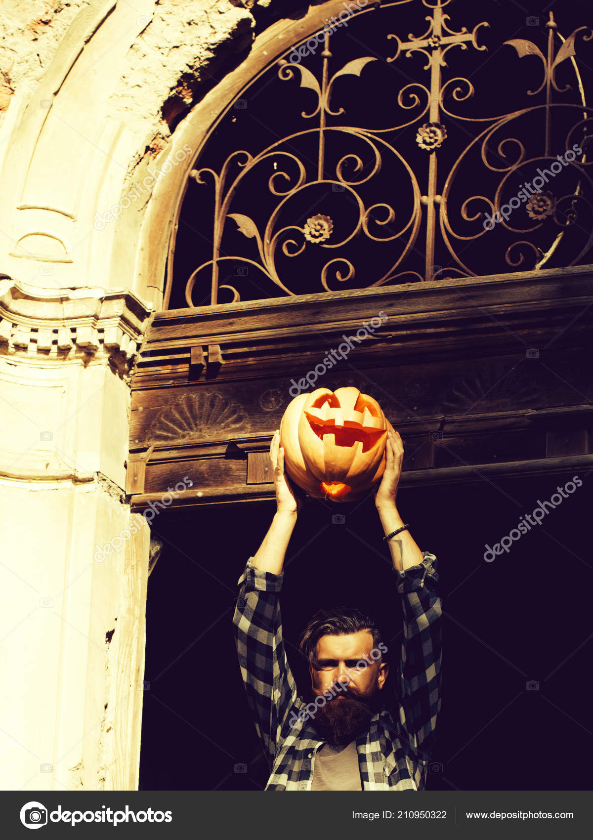 Halloween Maan.Halloween Man With Pumpkin Stock Photo C Tverdohlib Com